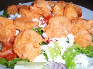 Bang Bang Shrimp over salad