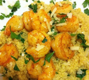 Curried Quinoa and Sauteed Shrimp