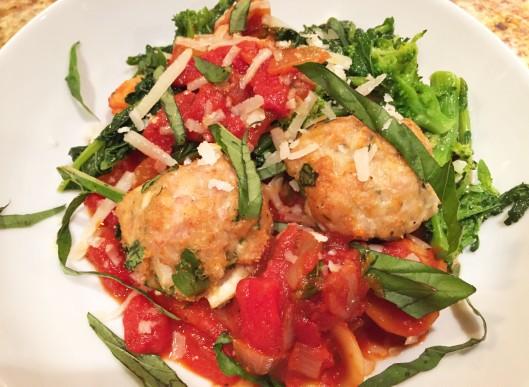 Orecchiette with Broccoli Rabe and Chicken Meatballs