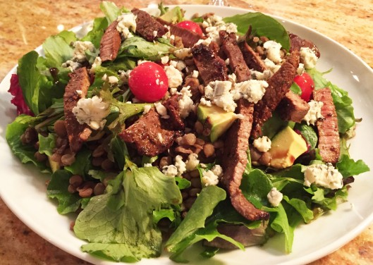 Lentil and Balsamic Skirt Steak Salad