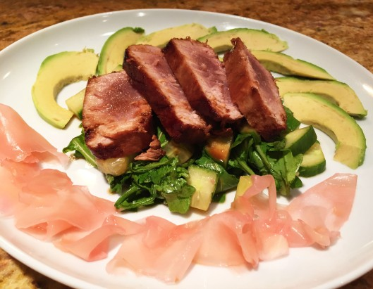 Sliced Ahi Tuna Atop Arugula