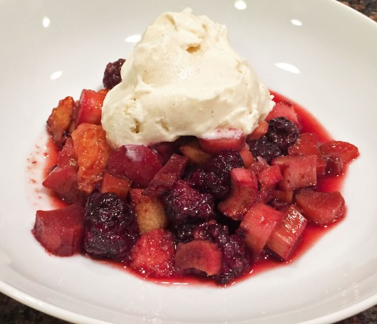 Ice Cream Over Roasted Summer Fruit