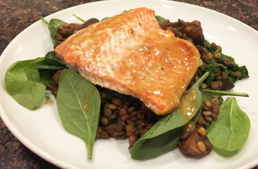 Salmon Over Vanilla Balsamic Lentils