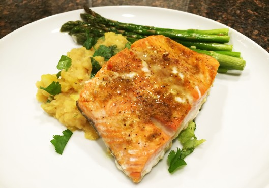 Thai Salmon Over Lentil Mash